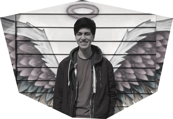 Man with spray painted angelic background